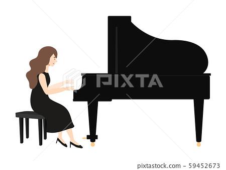 一個女人彈鋼琴的矢量圖 59452673