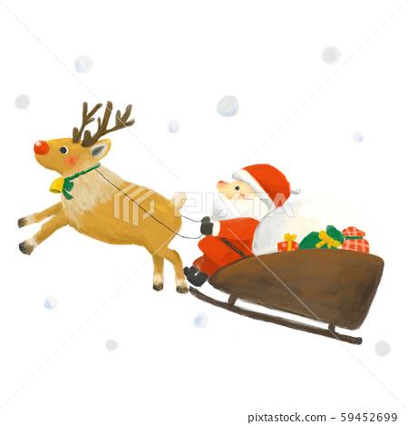 聖誕老人和馴鹿在雪地裡騎雪橇 59452699
