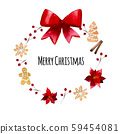 Watercolor Christmas wreath with red bow on white 59454081