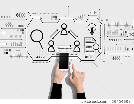 Human resources theme with person using a smartphone 59454608