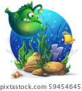 Undersea world with funny green fish 59454645