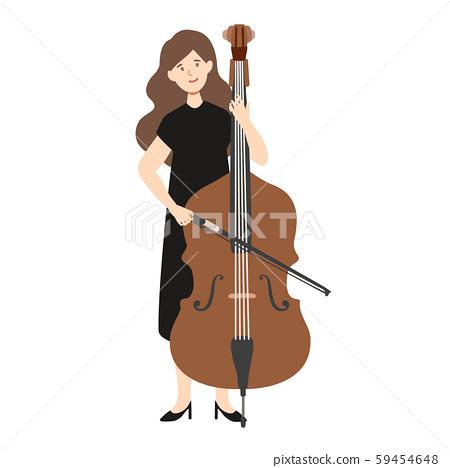 一個女人抱著一個低音提琴的矢量圖 59454648