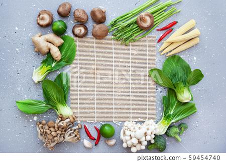 fresh asian cuisine ingredients 59454740