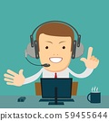 Smiling male operator with headset working at call center. 59455644