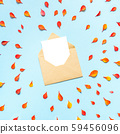 Paper envelope with small orange and red autumn leaves on a blue background. 59456096