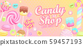 Candy shop welcome banner. 59457193