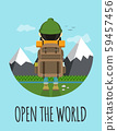 Open the world. Hipster concept flat  59457456