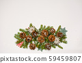 Pine cones festive background with fir branch 59459807