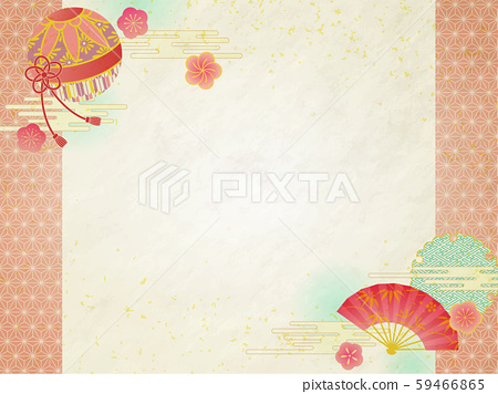 일본식 디자인 프레임 국과 부채 59466865