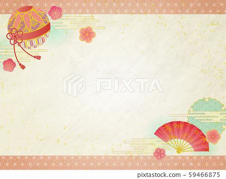 일본식 디자인 프레임 국과 부채 59466875