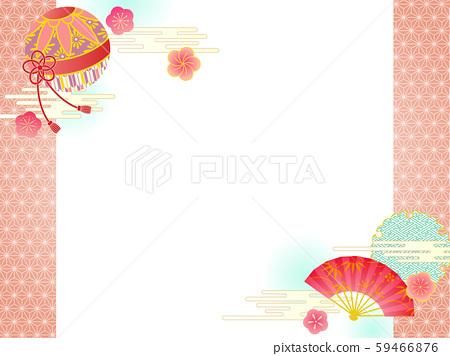 일본식 디자인 프레임 국과 부채 59466876