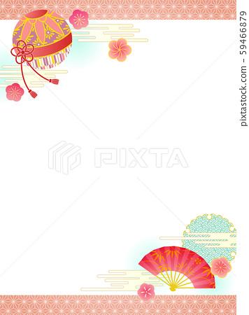 일본식 디자인 프레임 국과 부채 59466879