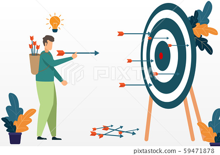 Successful businessman aiming target with bow and 59471878