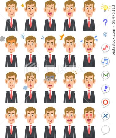 젊은 남성의 20 가지 표정과 상체 백인 갈색 머리 59475113