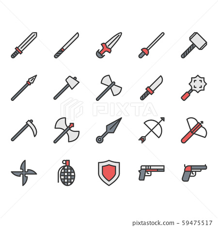 Weapon related icon and symbol set. 59475517