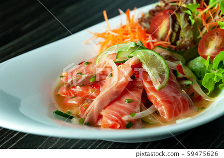 Tuna  spicy salad sauce , Thai spicy salad 59475626