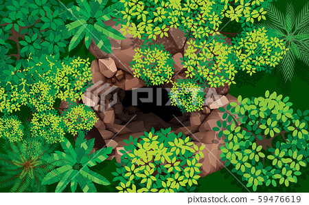 top view stone cave in the forest 59476619