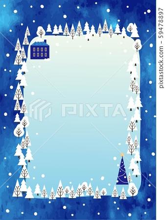 聖誕森林框架水彩風格 59478897