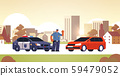 police officer stopping the car checking vehicle on road traffic safety regulations concept flat 59479052