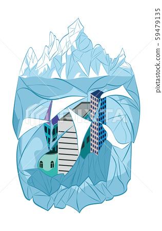Iceberg and frozen city 59479135