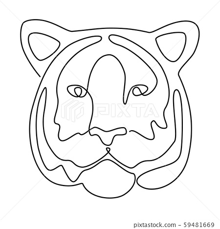 Continuous line drawing. Tiger head. Vector illustration. In black colour isolated on white 59481669