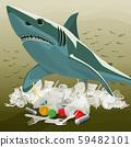 Environment Pollution Illustration And Shark 59482101
