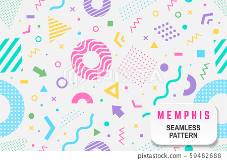Memphis seamless pattern. Vector. Different halftone geometric shape and colorful geometric shapes 59482688