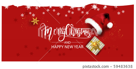 Horizontal Christmas and Happy New Year banner Xmas sparkling lights garland with gifts box greeting cards, headers, website Objects viewed from above. Flat lay, Top view elements for promotion  59483638