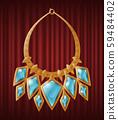 Luxury Golden Necklace with Blue Gemstones Vector 59484402