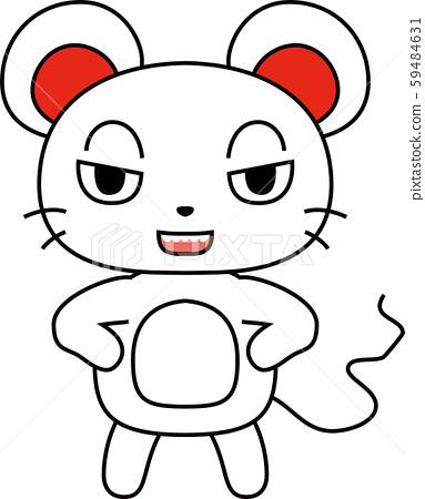 쥐 귀여운 캐릭터 자 정월 연하장 59484631