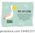 Eco poster with pelican. Stop plastic pollution. 59485257