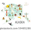 Alaska illustrated map with animals and symbols. 59485286