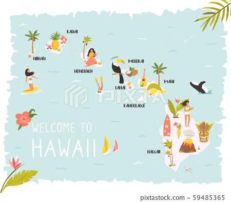 Hawaiian map with icons, characters and symbols. 59485365
