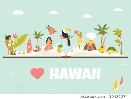 Tourist poster with famous landmarks of Hawaii. 59485374