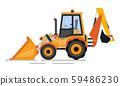 Backhoe Transport, Tractor Construction Vector 59486230