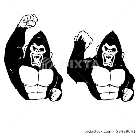 令人恐懼的大猩猩(黑色一種顏色)的前視圖/ 2套 59489041