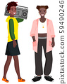 Youth Teenagers with Boombox Radio Music Vector 59490246