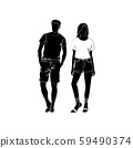 Fashionable girl and guy vector. Fashion. Man and woman silhouette vector. Fashionable young couple. Girl in shorts and T-shirt. Guy in bermudas and a T-shirt 59490374