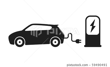 Electric car refueling icon 59490491