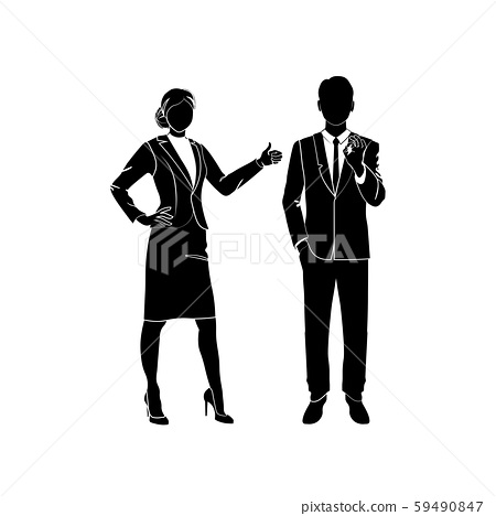 Businessman, manager shows ok vector. Business woman shows like, thumbs up. Vector illustration black on white background. Success and business negotiation concept. 59490847