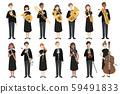 악기를 가진 남녀의 연주가들의 베 쿠타 일러스트 59491833