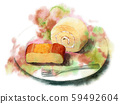 Roll cake and cheesecake painted in watercolor 59492604