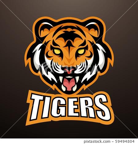 tiger with title sports mascot color logo illustration 59494804