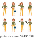 Young, happy, confident green top woman vector illustration. Standing with hands on hips, drinking coffee, talking on phone, using tablet, writing notes, thumbs up girl cartoon character set 59495098