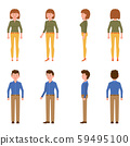 Nice, cute, handsome, pretty young blue shirt office worker man and green top woman vector illustration. Standing, smiling, front, side, back view male and female people cartoon character set 59495100