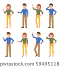 Smiling, friendly blue shirt office man and green top woman vector illustration. Waving hand, talking on phone, showing victory sign, standing side view boy and girl cartoon character set 59495118