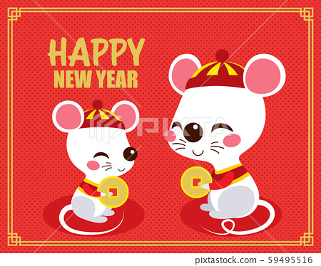 Cute happy rats holding chinese golden coin celebrating new year sitting on red background 59495516