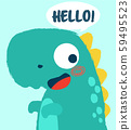 Cute happy dinosaur with hello text comic balloon 59495523