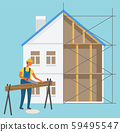 Build Construction Zone, Man Cutting Log Vector 59495547