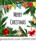 Fir tree branches border with christmas symbols 59495596